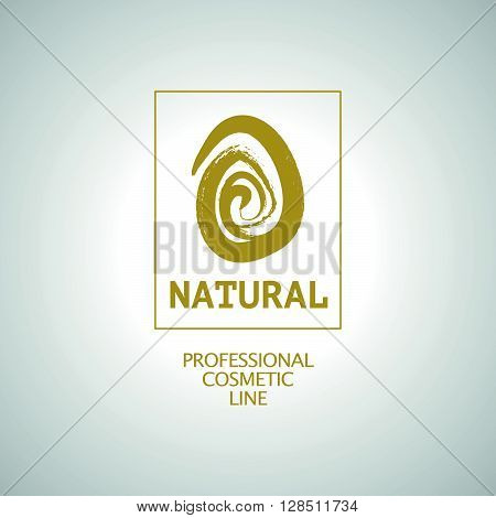 Vector flat eco product emblem. Ecological cosmetic sign. Eco badge. Finger stamp. Natural product line. Nature certificate quality. Leaf icon. Eco symbol. Natural cosmetics. Eco friendly logo. Bio organic product.