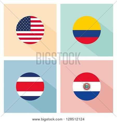 soccer ball with group A teams flags.flat design