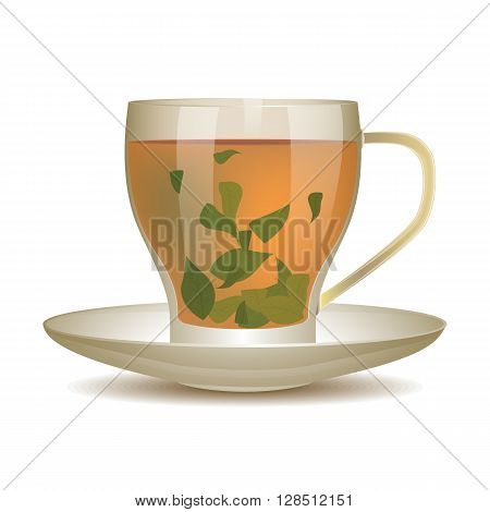 Oolong tea in cup of glass with tea leaves. Vector illustration.