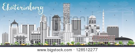 Ekaterinburg Skyline with Gray Buildings and Blue Sky. Business Travel and Tourism Concept with Modern Buildings. Image for Presentation Banner Placard and Web Site.