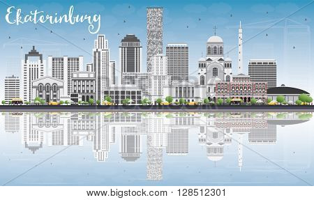 Ekaterinburg Skyline with Gray Buildings, Blue Sky and Reflections. Business Travel and Tourism Concept with Modern Buildings. Image for Presentation Banner Placard and Web Site.