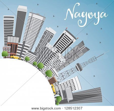 Nagoya Skyline with Gray Buildings, Blue Sky and Copy Space. Business and Tourism Concept with Modern Buildings. Image for Presentation, Banner, Placard or Web Site.