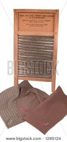 Old Fashioned Washboard With Vintage Handkerchiefs
