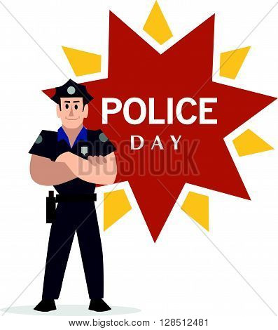 Vector flat simple friendly character isolated. Text message. Profession human icon. Person portrait. Policeman portrait.