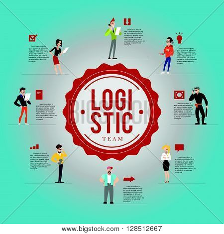 Vector flat logistic profession characters. Human icon.