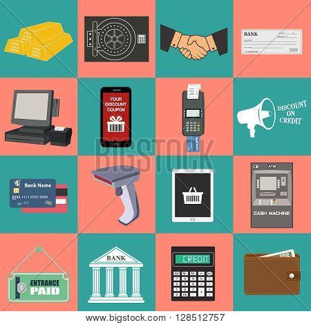 Flat concept vector illustrations set of payment methods such as credit card, nfc, mobile app, atm, terminal, website, bank transfer, cash and invoice