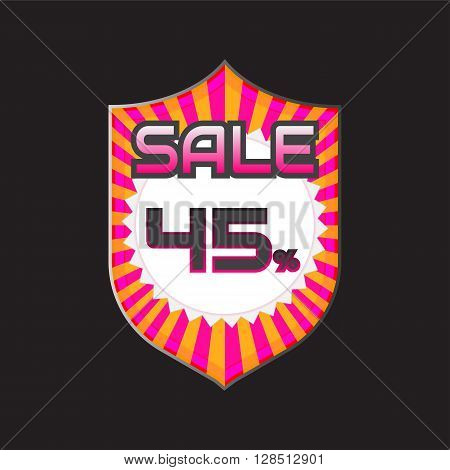 Sale discount labels. Special offer price signs. 45 percent off reduction symbol.
