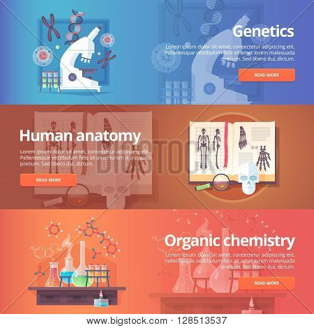 Genetics. Human genome. Human anatomy. Anatomical atlas. Organic chemistry. Biochemistry. Chemical laboratory. Science of life. Education and science banners set. Vector design concept.