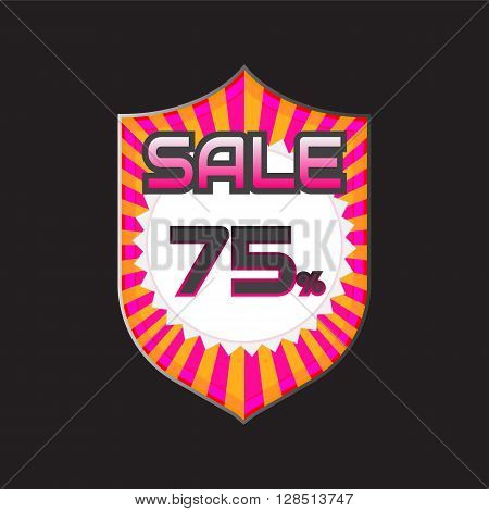 Sale discount labels. Special offer price signs. 75 percent off reduction symbol.