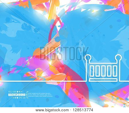 Creative vector baby cot. Art illustration template background. For presentation, layout, brochure, logo, page, print, banner, poster, cover, booklet, business infographic, wallpaper, sign, flyer.
