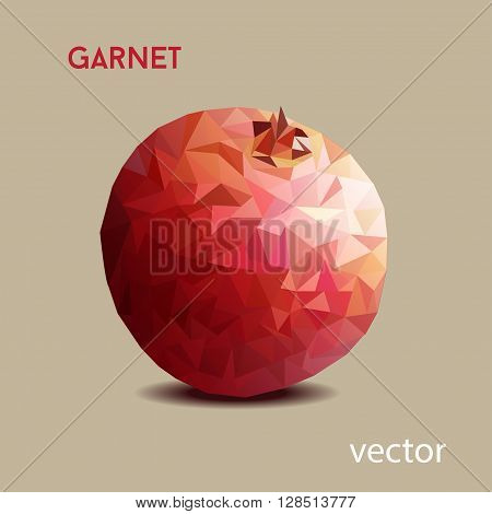 garnet poligon vector on the brown background
