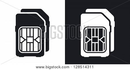 Dual SIM cards icon vector. Two-tone version on black and white background