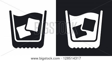 Glass of whiskey with ice vector icon. Two-tone version on black and white background