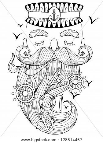 Vector zentangle old sailor smoking a pipe, captain, fisherman, sea-dog illustration for adult anti stress coloring page. Hand drawn artistically ornamental patterned portrait, sea collection.