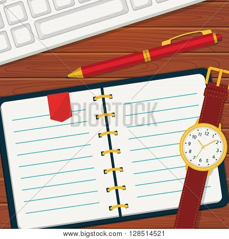 Time management or planning banner. Vector concept background in flat style. Notebook with space for your text. Top view of blank notebook wristlet watch pen and keyboard.