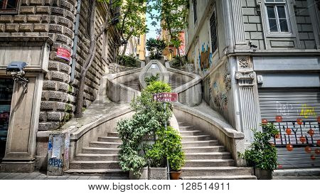 Istanbul, Turkey, 05 May, 2013: Kamondo Stairs istanbul Turkey. Built at the end of the 19th century by the influential Sephardic banker family, the house of Camondo. Legend has it that the family had the stairs built so that their kids could take a short