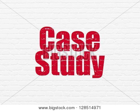 Studying concept: Painted red text Case Study on White Brick wall background