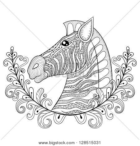 Zebra in Floral frame. Vector zentangle Zebra Head illustration, Horse print for adult anti stress coloring page. Hand drawn artistically ornamental patterned decorative animal for tattoo design