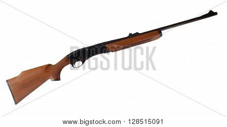 Rifle that is semi automatic with a wood stock isolated on white