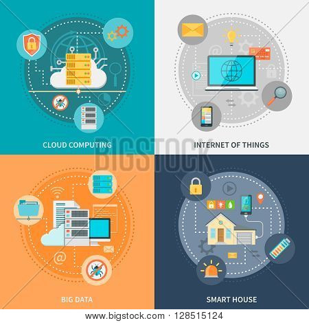 Electronic systems for security and convenience with smart house internet of things big data isolated vector illustration