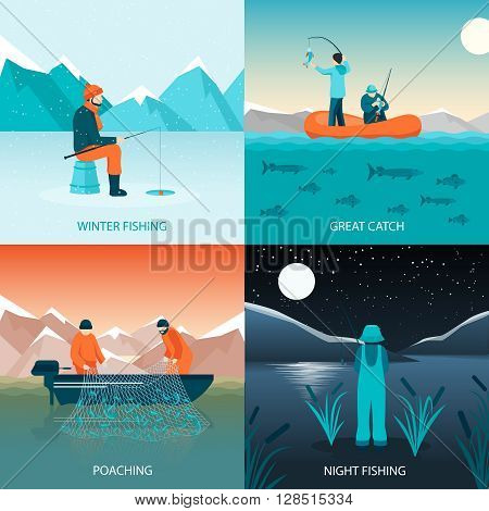 Fishing 2x2 design concept flat square icons set with winter fishing great catch poaching and night fishing isolated vector illustration