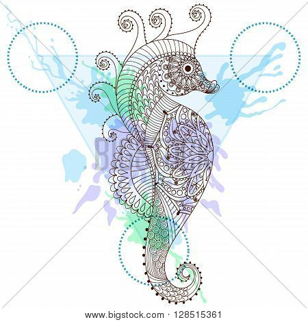 Zentangle stylized Sea Horse in triangle frame with watercolor ink drop. Hand Drawn doodle vector seahorse illustration. Sketch for tattoo or makhenda. Hipster artistically patterned animal print.