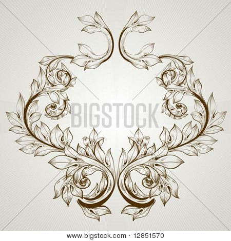 Abstract pattern for design. Floral retro elements for background.