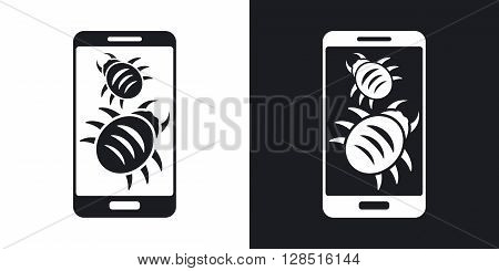 Smartphone is infected by malware vector illustration. Two-tone version on black and white background