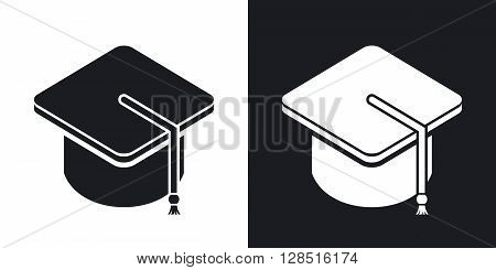 Vector bachelor's hat icon. Two-tone version on black and white background