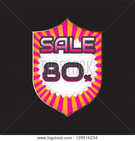 Sale discount labels. Special offer price signs. 80 percent off reduction symbol.
