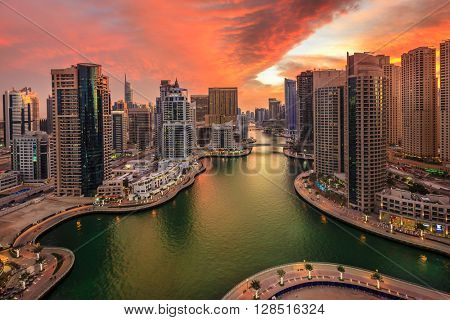 Dubai Marina in UAE at sunset