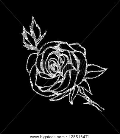 Glowing silver rose on background. Silver sparkles rose. Silver banner.