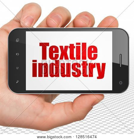 Industry concept: Hand Holding Smartphone with red text Textile Industry on display, 3D rendering