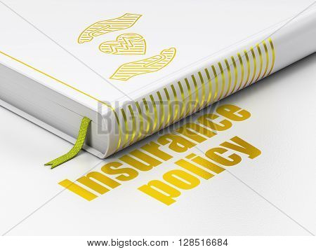 Insurance concept: closed book with Gold Heart And Palm icon and text Insurance Policy on floor, white background, 3D rendering