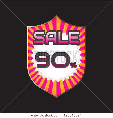 Sale discount labels. Special offer price signs. 90 percent off reduction symbol.