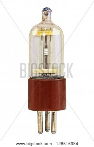 Triode vacuum tube isolated on white background.