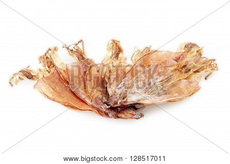 cuttlefish or dried squid isolated on white background