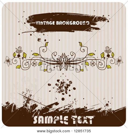 Abstract vintage vector for background with flowers and butterfly.