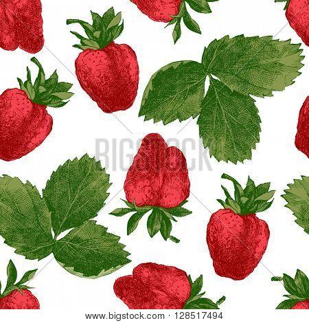 Seamless pattern with fresh hand drawn strawberries
