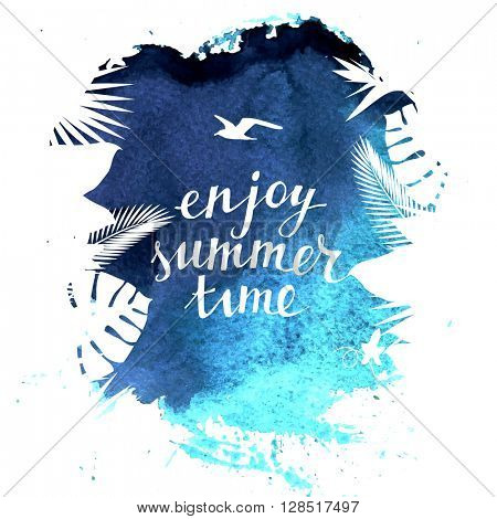 Enjoy summer time background with tropical leaves