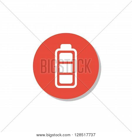 Battery Icon In Vector Format. Premium Quality Battery Symbol. Web Graphic Battery Sign On Red Circl