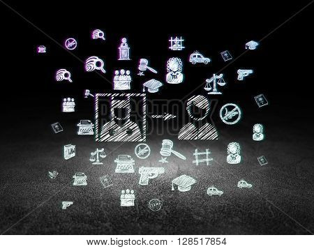 Law concept: Glowing Criminal Freed icon in grunge dark room with Dirty Floor, black background with  Hand Drawn Law Icons