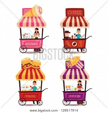Fast food cart, vector cartoon set isolated on a white background, street selling ice cream, garburgera, burgers, hot dogs, coffee in the street, a different street fast food sellers