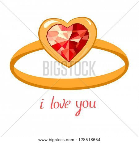 Gold ring with ruby isolated on white background. Phrase I love you.