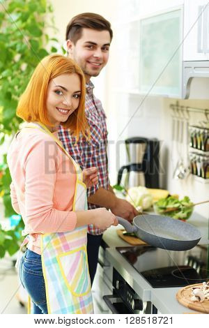 Young happy couple cooking together in the kitchen