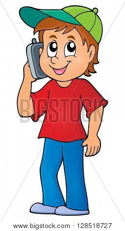 Boy with cellphone theme image 1 - eps10 vector illustration.