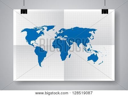 Blue vector map. World map blank. World map template. Twice a folded poster with clamps.