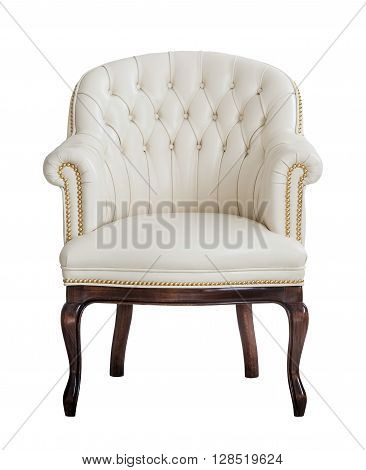 Vintage beige leather armchair isolated on white background