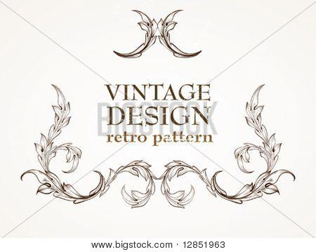 Abstract antique frame for vintage design.