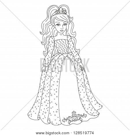 Beautiful princess, gorgeous princess in shining dress with spangles, vector illustration, coloring book page for children